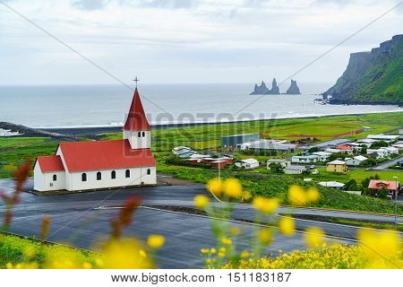 Church at the village of Vik in Iceland