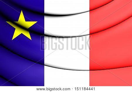 3D Flag Of Acadia, Canada. 3D Illustration.