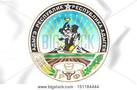 Adygea Republic Coat Of Arms, Russia. 3D Illustration.