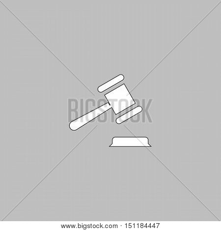 Judge gavel Simple line vector button. Thin line illustration icon. White outline symbol on grey background