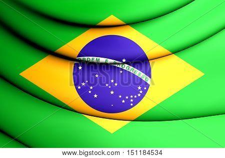 3D Flag of Brazil. 3D Illustration. Close Up.
