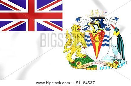 3D Flag Of The British Antarctic Territory. 3D Illustration.