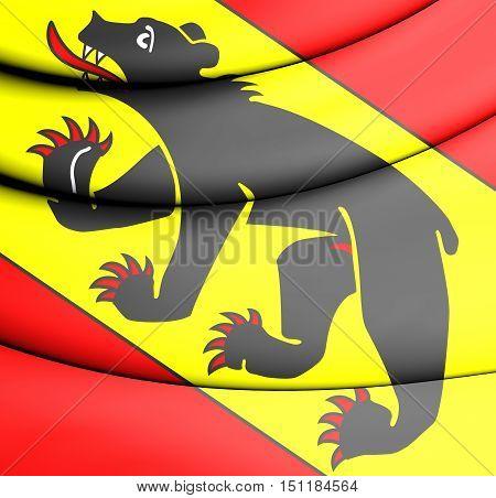 3D Flag Of Bern Canton, Switzerland. 3D Illustration.