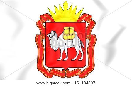 Chelyabinsk Oblast Coat Of Arms, Russia. 3D Illustration.