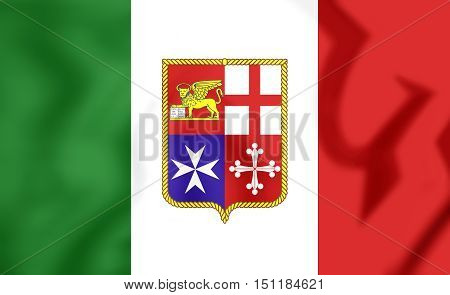 Civil Ensign of Italy. 3D Illustration. Close Up.