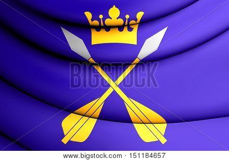 3D Flag Of Dalarna County, Sweden. 3D Illustration.