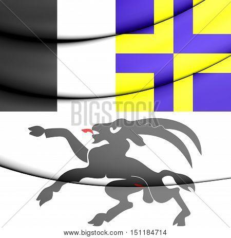 3D Flag Of Graubunden, Switzerland. 3D Illustration.