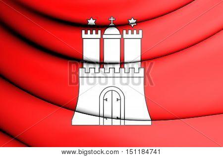 3D Flag Of Hamburg, Germany. 3D Illustration.