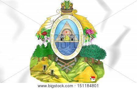 Honduras coat of arms. 3D Illustration. Close Up.