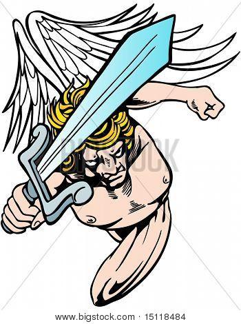 Engel mit Schwert Suche nach Rache.