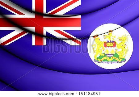 3D Flag Of Hong Kong (1959-1997). 3D Illustration.