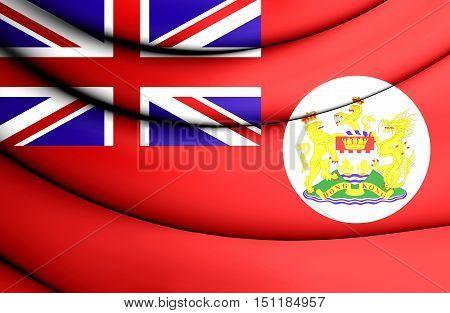3D Flag Of Hong Kong (1959-1997). Red Ensign. 3D Illustration.