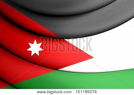 3D Flag of Jordan. 3D Illustration. Close Up.