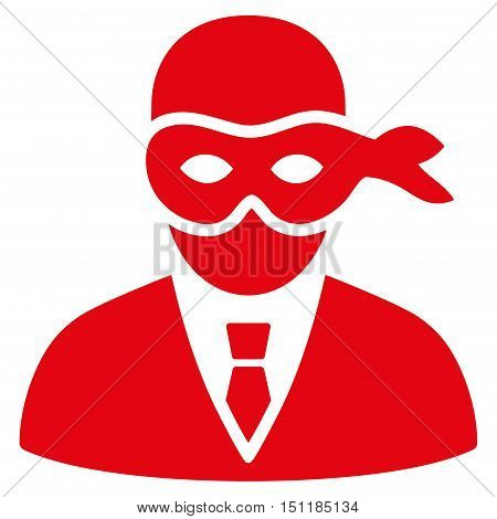 Masked Thief icon. Glyph style is flat iconic symbol with rounded angles red color white background.