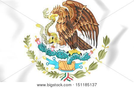 Mexico coat of arms. 3D Illustration. Close Up.
