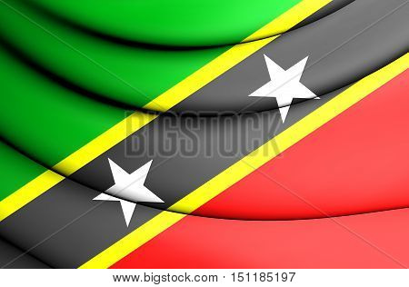 Flag Of Federation Of Saint Kitts And Nevis. 3D Illustration.