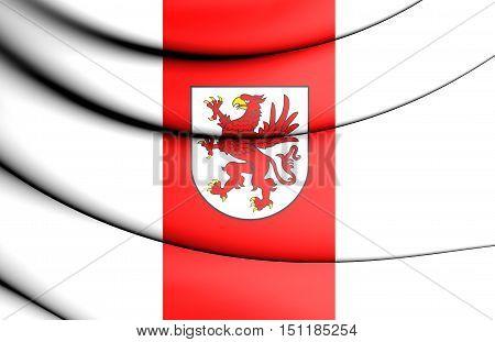 3D Flag Of West Pomeranian Voivodeship, Poland.  3D Illustration.