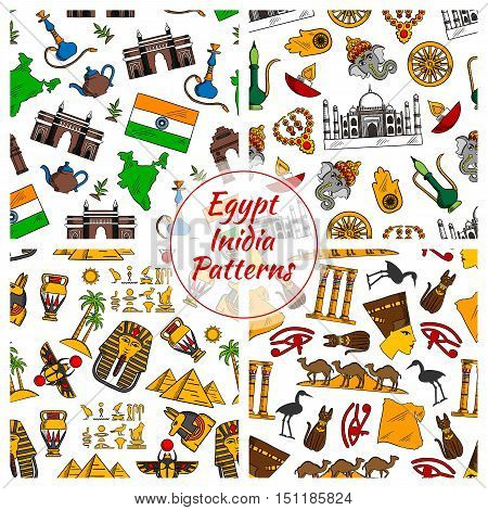 Egypt and India culture seamless patterns. Vector pattern of Pyramids, Nefertiti, eye of Horus, Tutankhamun pharao, scarab, map, cuneiform, Amon Ra, Taj Mahal, Ganesha elephant, Hamsa hand amulet, dharmachakra dharma gold wheel, shisha