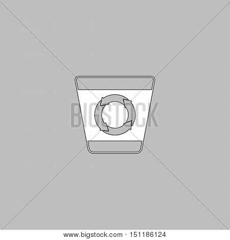 Recycle bin Simple line vector button. Thin line illustration icon. White outline symbol on grey background