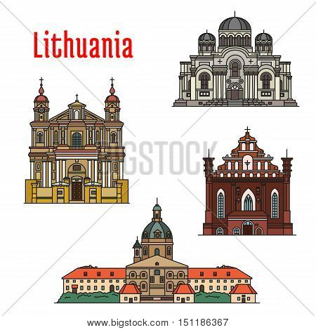 Lithuania famous architecture. Vector detailed icons of Kaunas Cathedral Basilica, Church of St. Michael Archangel, St. Francis and St. Bernard, St. Peter and St. Paul. Historic landmarks, sightseeings for souvenir decoration elements