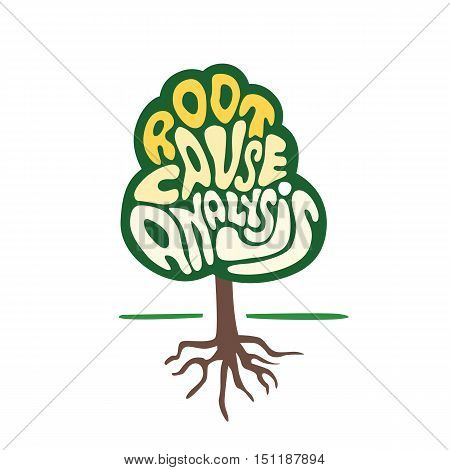 tree symbol with hand lettering root cause analysis word as quality business development and growing concept vector illustration