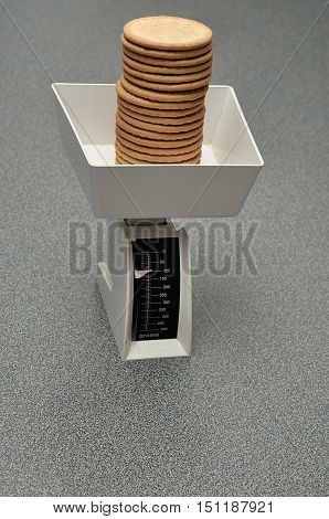 A kitchen scale measuring biscuits stack into the bow