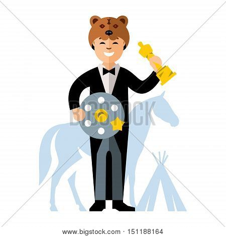 Man in tuxedo with a Movie Film Reel and a gold statuette. Cap Bear, horse, tipi. Isolated on a white background