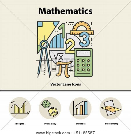 Modern color thin line concept of mathematics for school, university and training. Vector illustration with different elements on the subject mathematics. Logo Concepts for Trendy Designs.