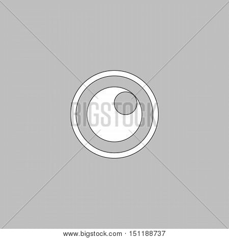 pupil Simple line vector button. Thin line illustration icon. White outline symbol on grey background