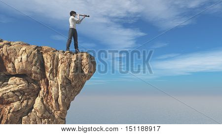 Man with binoculars on a rock looks at ocean. This is a 3d render illustration