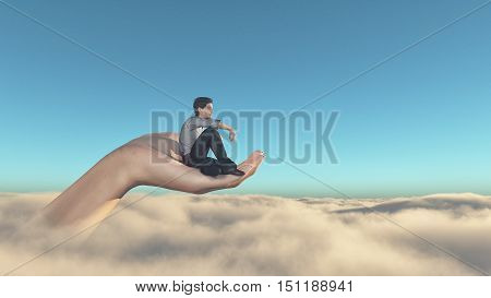 Man sitting on a hand overclouds and admiring the view. This is a 3d render illustration