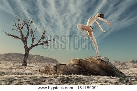 Gymnast practicing outdoor on a large rock. This is a 3d render illustration