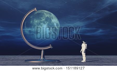 Astronaut in space looking to moon globe. This is a 3d render illustration