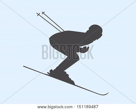 Silhouette Of Skier Speeding Down Slope. Vector Winter Sport Illustration.