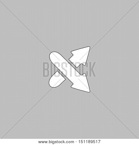 crossing arrow Simple line vector button. Thin line illustration icon. White outline symbol on grey background