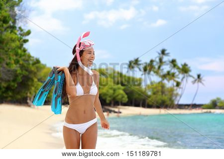 Beach vacation snorkel girl snorkeling with mask and fins. Bikini woman relaxing on summer tropical getaway doing snorkeling activity with snorkel tuba and flippers sun tanning. Caribbean destination.