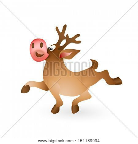 Happy Christmas reindeer proudly walking on white background. Cartoon vector illustration
