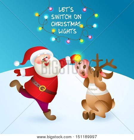 Santa puts Reindeer new light in red nose. Merry Christmas card with snow landscape and color light bulbs. Vector illustration for your design. Old men and reindeer cartoon characters