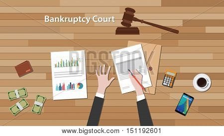 bankcruptcy court concept with business man work on paper document with chart and graph on top of wooden table vector