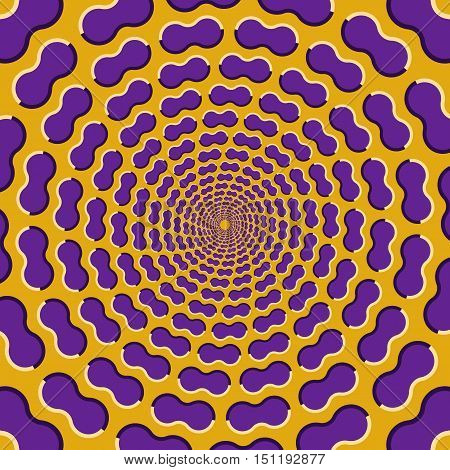 Optical illusion background. Purple clouds fly apart circularly from the center on yellow background.