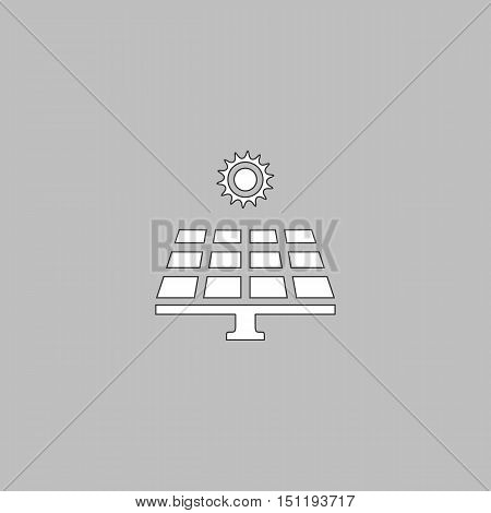 Solar energy Simple line vector button. Thin line illustration icon. White outline symbol on grey background