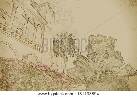 Almudaina palace with blooming pink flowers against blue sky and clouds, Palma de Mallorca, Balearic islands, Spain. Modern painting, background illustration.