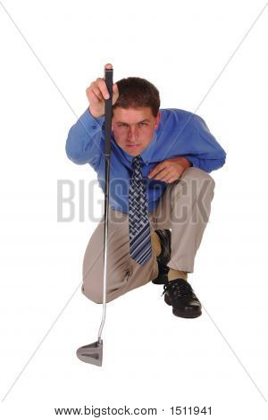 Professional Man Blue Shirt Black Tie Focussing Over Golf Club Putter