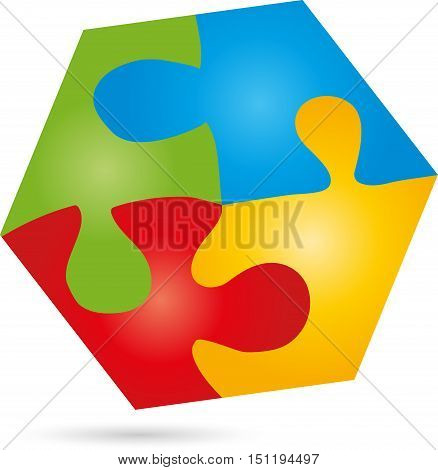 Puzzle and game logo, hexagon colored, square
