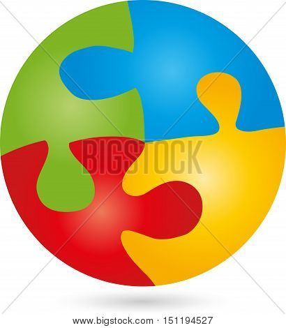 Puzzle and game logo, circular, colored, square