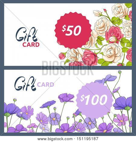 Template gift card with roses and summer flowers
