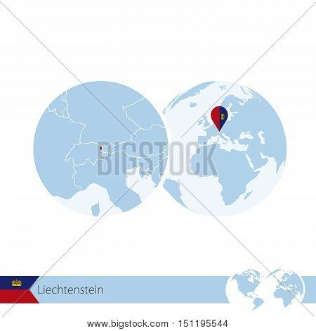 Liechtenstein On World Globe With Flag And Regional Map Of Liechtenstein.