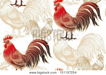 Vector seamless pattern of roosters on a white background. Illustration for calendars, fabric, cards, paper, present package and clothes. Gold, black and red. Chinese new year 2017.