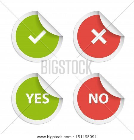 Vector stickers with consent and denial on white background.