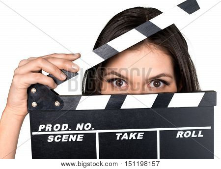 Woman Holding The Clapperboard in Front of Her Face - Isolated